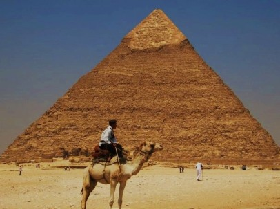 Camel, Man, and Pyramid