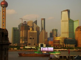 The Pearl Tower and the financial district across from The Bund. Pic taken on rooftop balcony of Captain Hostel.