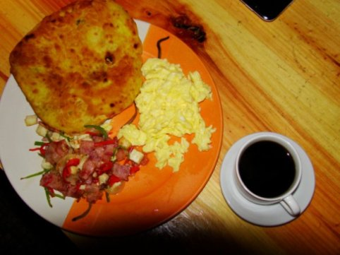 BAI PEOPLE'S BREAKFAST: The Bai People's Pancake, Fried Goat cheese with Chinese Ham and Scrambled Eggs, Yunnan coffee