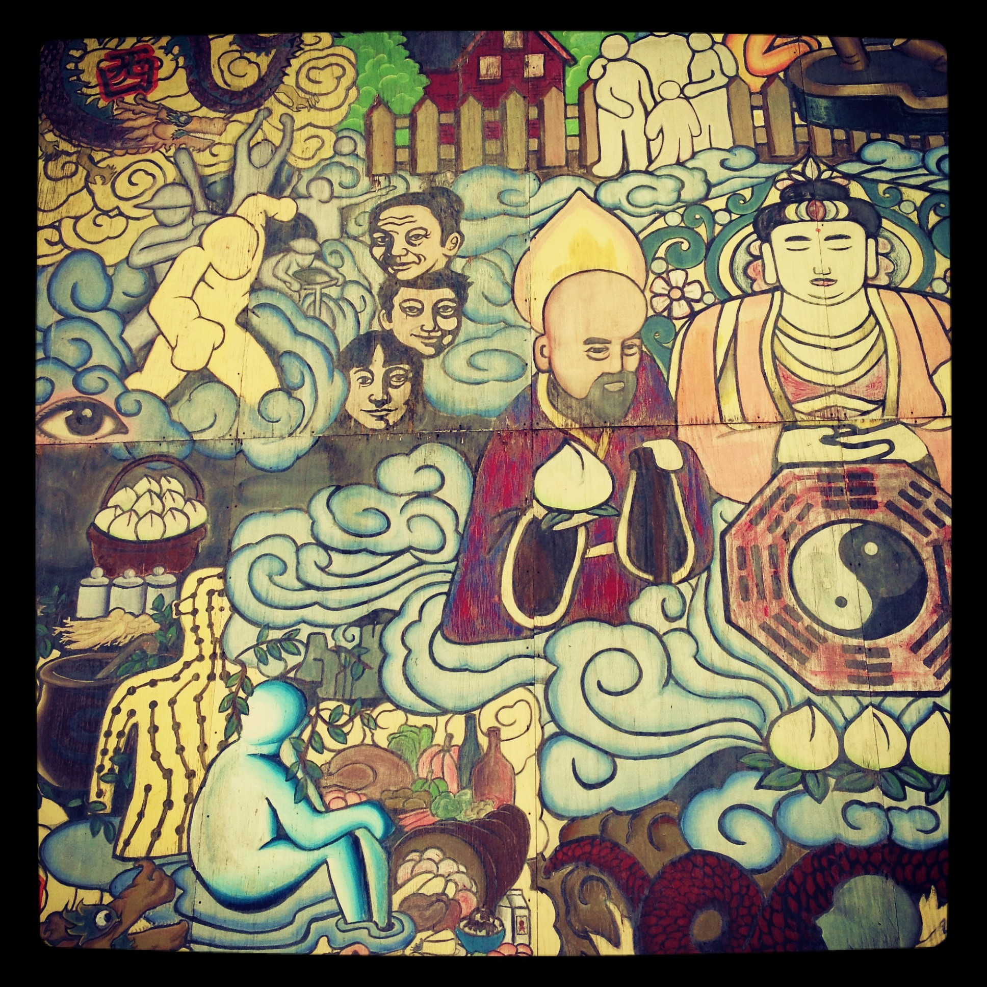 Boston street art chinatown parking lot mural tokidoki for Audrey hepburn mural los angeles