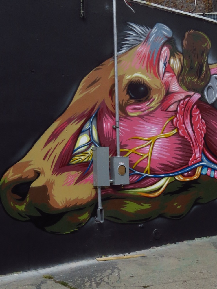 NYC STREET ART: INSIDE A COW'S HEAD by PRVRT (2/4)