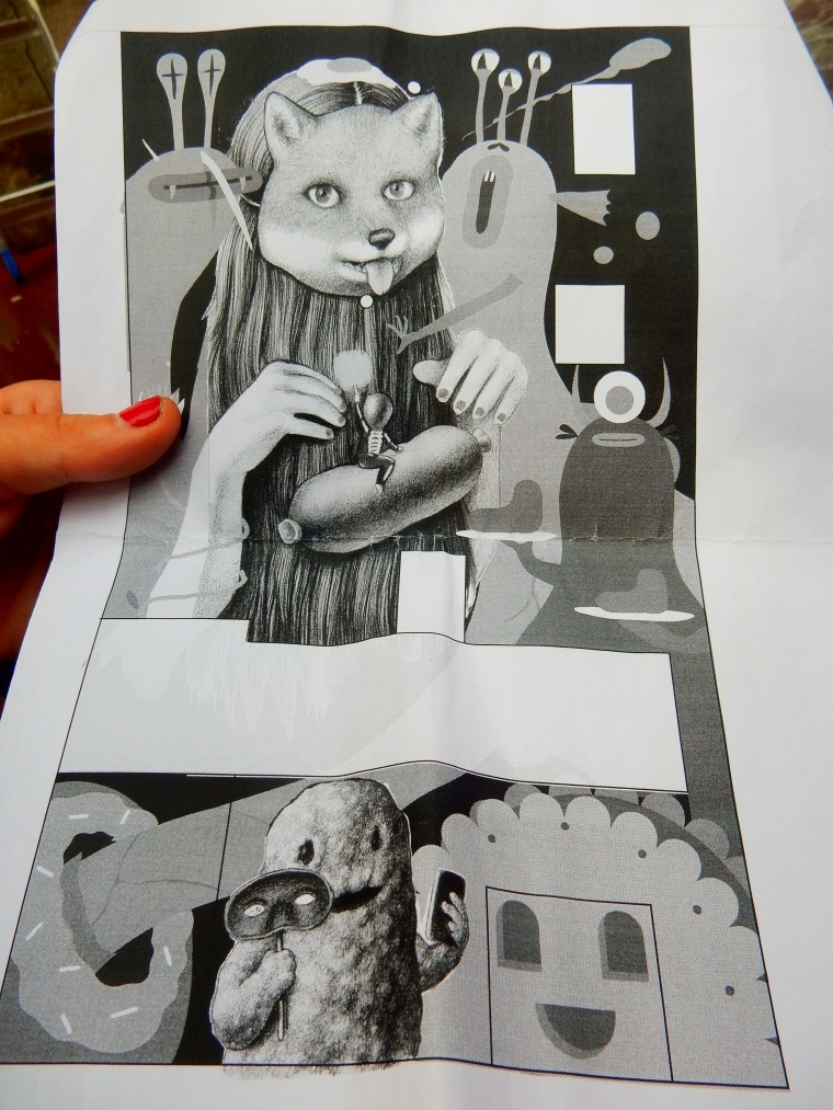 The sketch in black and white that they were working with.
