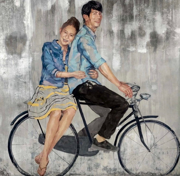 couple+bicycle+graffiti+streetart+penang+malaysia-